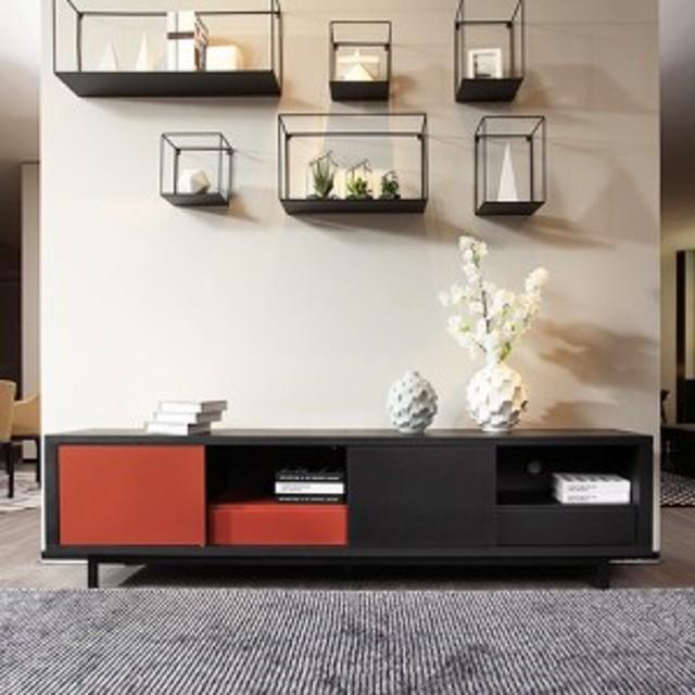 モダン 木目と紅の美しい調和 ツートンカラー TVボード 幅200cm / cf0045