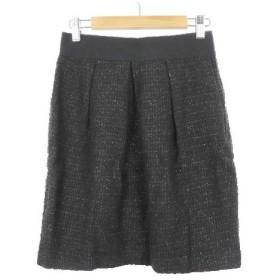 ストロベリーフィールズ STRAWBERRY-FIELDS スカート 台形 ひざ丈 ラメ ウエストゴム ジップフライ タック ウール 2 黒 ブラック