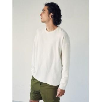 【50%OFF】 コトリカ ワッフル長袖Tシャツ メンズ オフホワイト M 【COTORICA.】 【セール開催中】