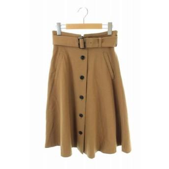 ナチュラルビューティーベーシック NATURAL BEAUTY BASIC 18AW スカート ひざ丈 フレア フロントボタン ベルト付き S ベージ