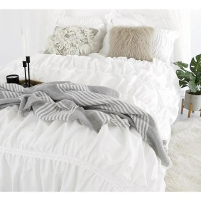 布団カバー 寝具カバー セット 4点 シングル クイーン キング 掛けカバー ベッドシーツ 枕カバー 無地 ホワイト ガーリー 新生活 模様替