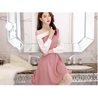春夏 新作 ドレス ワンピース ウエストリボン パーティ着痩せ 無地 可愛い ファッション LDJ030