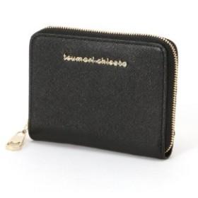 【本革】メタルネーム ラウンドファスナー二つ折財布