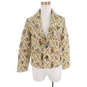 ダブルクローゼット w closet ジャケット テーラード ブレザー 花柄 フラワー 刺繍 ベージュ 赤 レッド コットン 2B 上着 美品 レディ