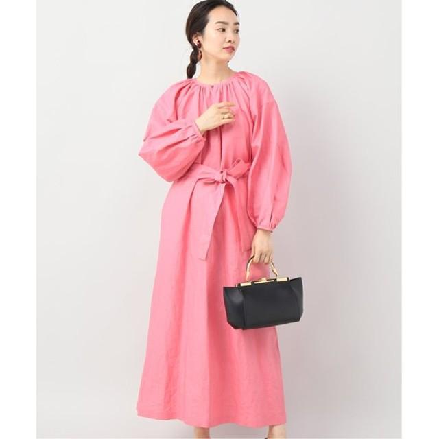 VERMEIL par iena INSCRIRE LINEN COATING GATHER MAXI DRESS ピンク フリー