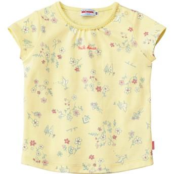 ミキハウス 花柄半袖Tシャツ 黄