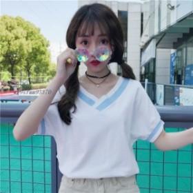 夏  V ネック Tシャツ女性甘いプレッピースタイル バットウィングスリーブヒットソリッドカラールーストップスかわいい女子学生カジュア