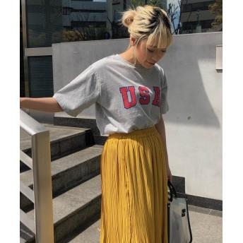 【70%OFF】 リップスター USAプリントTシャツ レディース ライトグレー M 【LIPSTAR】 【セール開催中】