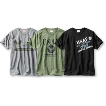 吸汗速乾半袖プリントTシャツ3枚組(ミリタリー) Tシャツ・カットソー