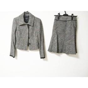 マテリア MATERIA スカートスーツ サイズ38 M レディース 美品 ダークグレー×白 ツイード/ラメ【中古】