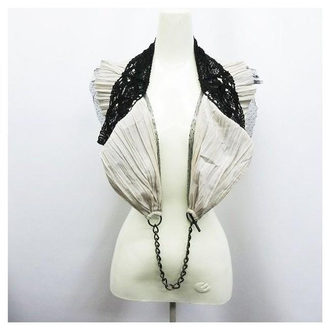 アウラアイラ AULA AILA Royal flash 変形 ボレロ 付け衿 ショールカラー レース シフォン チュール チェーン 2 ベージュ系