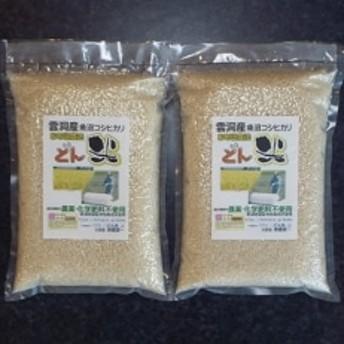 お布団農法 雲洞産魚沼コシヒカリ「どん米」 精米真空パック 2kg×2パック
