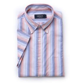 NEWYORKER 【夏新作】パナマストライプ / 半袖ボタンダウンシャツ ドレスシャツ,オレンジ(20)