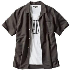 2点セット(レーヨン混無地開襟半袖シャツ+プリントTシャツ) カジュアルシャツ