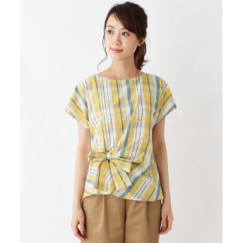 Tシャツ - Cutie Blonde 【UVケア】タータンチェックアシメリボンプルオーバー