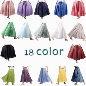 18色 ロングスカート レディース