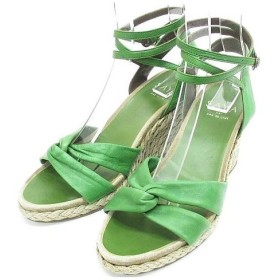 サヤ SAYA レースアップ サンダル ストラップ 大きいサイズ ジュート巻き ウエッジソール レザー 靴 緑 LL ◇MM-12663 ◇07 レデ