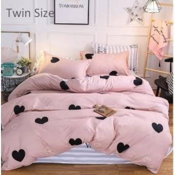 布団カバー 寝具カバー セット 3点 ツイン ピンク ハート プリント かわいい ガーリー ポリエステル 新生活 模様替え