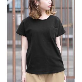 アンドジェイ フレンチスリーブワッフルポケットTシャツ レディース ブラック M 【ANDJ】