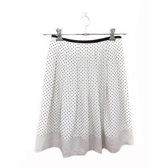 ナチュラルビューティーベーシック NATURAL BEAUTY BASIC スカート フレア ひざ丈 水玉 ドット S 白 ホワイト 黒 ブラック /