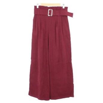 ナチュラルクチュール natural couture パンツ ワイド ハイウエスト フェイクスエード ベルト タック ウエストゴム F 赤 レッド /