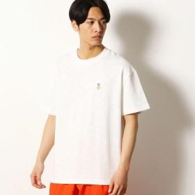 [マルイ]【セール】パイナップル柄 刺繍 ワイドシルエット Tシャツ/パープル&イエロー(Purple & Yellow)