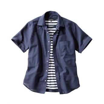 2点セット(綿麻無地半袖シャツ+ボーダーTシャツ) カジュアルシャツ