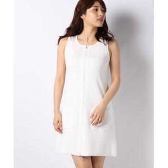 【50%OFF】 ミス ジェイ ハノン ジップアップニットドレス レディース ホワイト 40 【MISS J】 【セール開催中】