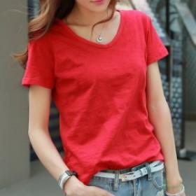 夏固体綿  Tシャツ女性 カジュアルプラスサイズ V ネック 全試合ルーズシャツ女性シンプルな韓国 Tシャツトップス