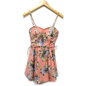 イーハイフンワールドギャラリー E HYPHEN WORLD GALLERY サロペット パンツ スカート風 キャミソール 花柄 レースアップ ピンク