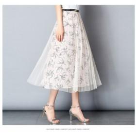 2019春夏 スカート ミディアム ミモレ 花柄 チュール ピンク ブラック デート 女子会