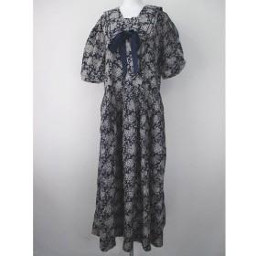 56782ecef84d1 ローラアシュレイ LAURA ASHLEY 花柄 五分袖 ワンピース ロング丈 18 青系 ブルー