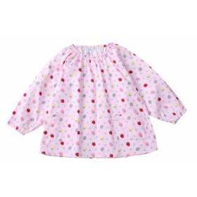 子供 エプロン 長袖 スモック 食事用 お絵かき用 いちご柄 女の子 すっぽり被れるタイプ ポケット付き 入園 入学 ピンク