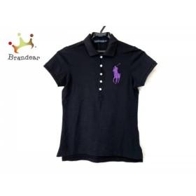 ラルフローレン RalphLauren 半袖ポロシャツ サイズM レディース 黒×パープル 刺繍   スペシャル特価 20190808