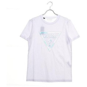 ゲス GUESS IRIDESCENT TRIANGLE LOGO TEE (WHITE)