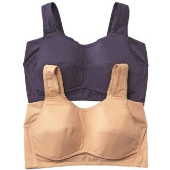 接触冷感。吸汗速乾 脇汗取りパッド付ブラ内蔵メッシュハーフトップ2枚組 (ノンワイヤーブラジャー),Bras