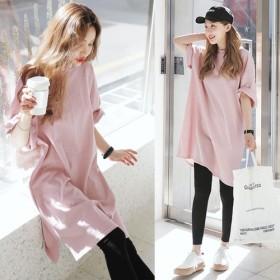 2019春と夏の新しい韓国の女性の緩い大きいサイズの長袖の半袖Tシャツドレスカジュアルドレスコットン