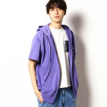 [マルイ]【セール】ロゴ刺繍 半袖 ビッグシルエット ジップパーカ/パープル&イエロー(Purple & Yellow)