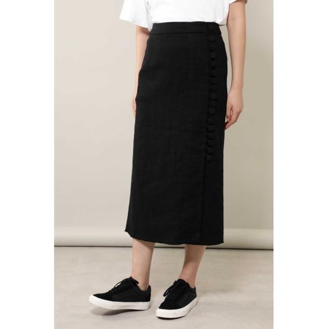 くるみボタンロングスカート ブラック