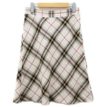 バーバリーブルーレーベル BURBERRY BLUE LABEL スカート 膝丈 フレア リネン混 チェック ホワイト ベージュ ブラック レッド 3