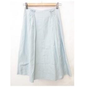 ヒューゴボス HUGO BOSS フレアースカート ギャザー ひざ丈 バックファスナー 無地 水色 ブルー コットン シルク FR34 UK4 IT3