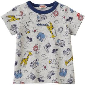 ミキハウス アニマル柄半袖Tシャツ グレー
