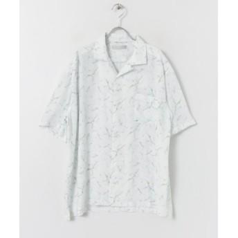 【61%OFF】 センスオブプレイス マーブルシャツ(5分袖) メンズ WHITE M 【SENSE OF PLACE】 【セール開催中】