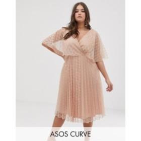 エイソス レディース ワンピース トップス ASOS DESIGN Curve flutter sleeve pleat and lace midi dress Soft blush