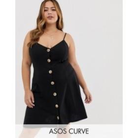 エイソス レディース ワンピース トップス ASOS DESIGN Curve mini slubby cami swing dress with faux wood buttons Black