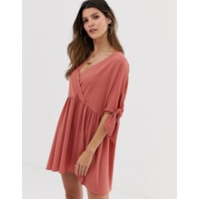 エイソス レディース ワンピース トップス ASOS DESIGN smock wrap mini dress with tie sleeves Rose pink