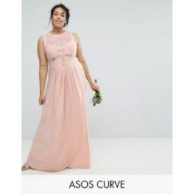 エイソス レディース ワンピース トップス ASOS CURVE WEDDING Lace Top Pleated Maxi Dress Nude