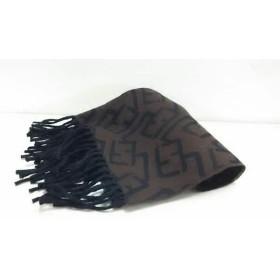 【中古】 フェンディ FENDI マフラー 美品 ダークブラウン 黒 cravatte ウール
