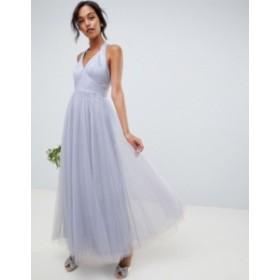 エイソス レディース ワンピース トップス ASOS DESIGN soft tulle maxi dress Dusty blue