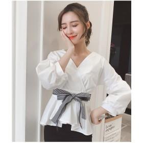 [55555SHOP]韓国の甘いOL気質Vネックパフスリーブストライプシャツ女性の羽ばたき裾ウエストは薄いシャツだった